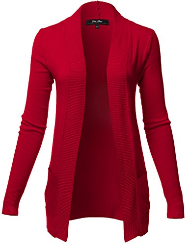 Plus Size Solid Color Rib Banded Long Sleeve Cardigans, 024-dark Red, US 1XL
