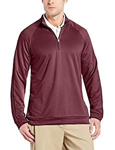 adidas Golf Men's 3-Stripes Piped 1/4 Zip Shirt, Amazon Red/Black, Small