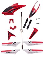 Full Replacement Parts Set for Syma S107 RC Helicopter, Syma Head Cover S107G-01, Syma Main Blades S107G-02, Syma Tail Decorations S107G-03, Syma Connect Buckle x2 S107g-04, Syma Balance Bar S107G-05, Syma Tail Blade S107G-06 -Red set by syma