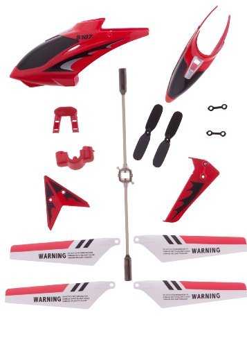 Eastvita Red Full Replacement Parts Set for Syma S107 RC Helicopter,including Head Cover S107G-01,Main Blades S107G-02,Tail Decorations S107G-03,Connect Buckle x2 S107g-04,Balance Bar S107G-05,Tail Blade S107G-06 - 1