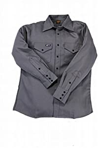 LAPCO IGR7-LARGE-LONG Lightweight 100-Percent Cotton Flame Resistant Work Shirt, Gray, Large, Long