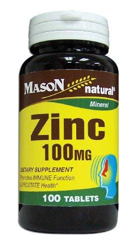 Mason Vitamins Zinc 100 Mg Tablets, 100-Count Bottles (Pack of 3)