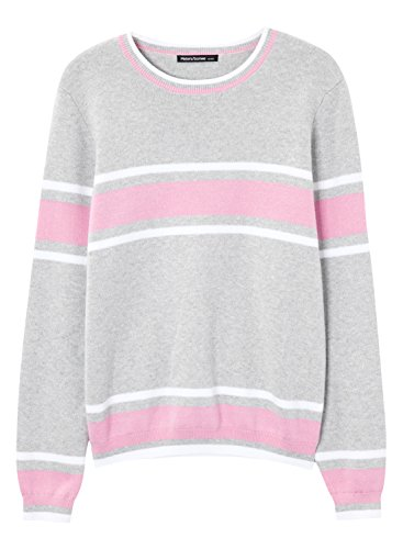 Meters/bonwe Women's Round Neck Long Sleeve Color Block Pullover Sweater, Grey M