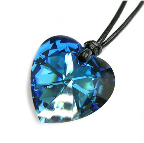 Swarovski Crystal Bermuda Blue Heart Charm Pendant 28mm Black Leather 1mm Necklace 14'' 16'' 18'' 20'' 22'' 24'' Adjustable
