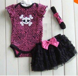 Children Set Baby Girl'S Summer 3Pcs Set Cartoon Romper+Tutu Skirt+Headband With Bow-Knot European Design Baby Suit (4-6 Months)