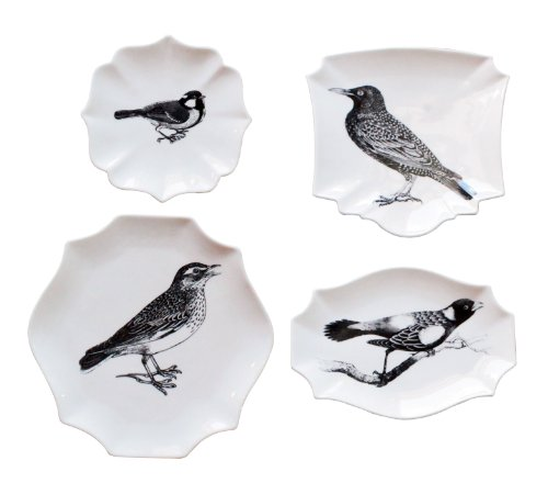 Creative Co-Op Stoneware Plates With Bird Images