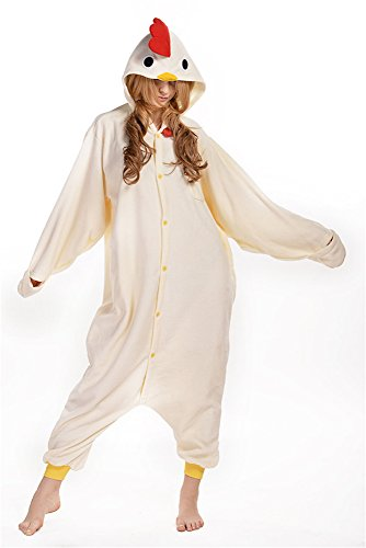 Y&T Unisex Kigurumi Adult Playsuit Pajamas Christmas Cosplay Costumes Homewear White Chick S (Chicken Fight Adult Costume)