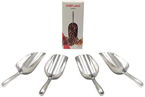 Cucharón Multipropósitos ChefLand de aluminio de 5 onzas, color plata, paquete de 4