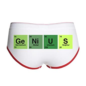 Artsmith, Inc. Women's Boy Brief Underwear Genius Periodic Table of Elements Science Geek Nerd - White/Red, XL