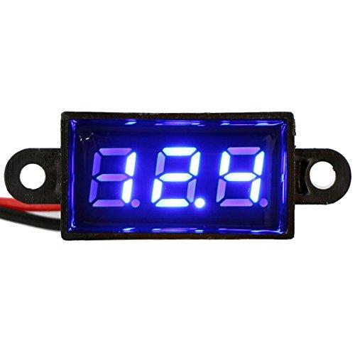"""Riorand® Waterproof Digital Car/Motorcycle Voltage Tester Panel Volt Meter Voltmeter Gauge Dc 12V 0.28"""" 2-Wires (Blue)"""