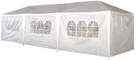 Palm Springs 10 X 30 White Party Tent Gazebo Canopy with Sidewalls