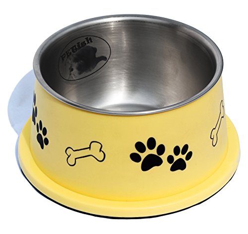 PETish Spaniel Bowl for Long Ear Dog (Medium ( 17oz - 6.3 x 5.3 x 3.0inch ), Banana Yellow)