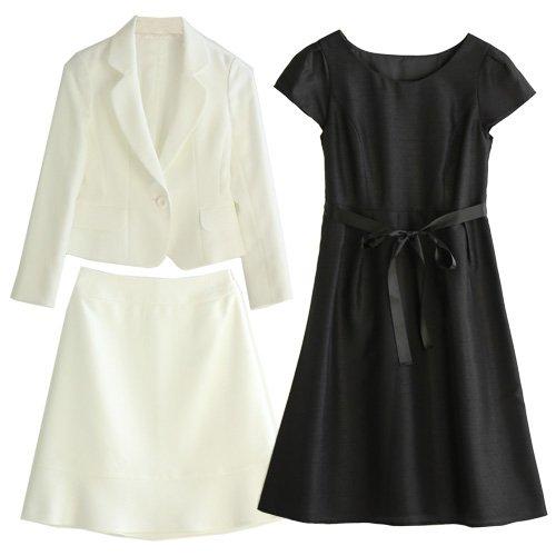 スーツ レディース 入学式 ホワイトジャケットシャンタンワンピーススーツ3点セット (9号(M), ホワイト)