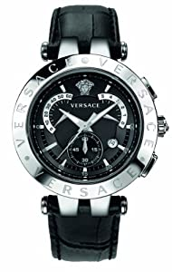 Versace Men's 23C99D008 S009 V-Race Chrono Black Dial Black Genuine Leather Watch from Versace