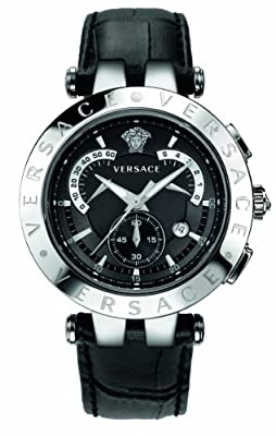 "Versace Men's 23C99D008 S009 ""V-Race"" Stainless Steel Watch with Leather Band"