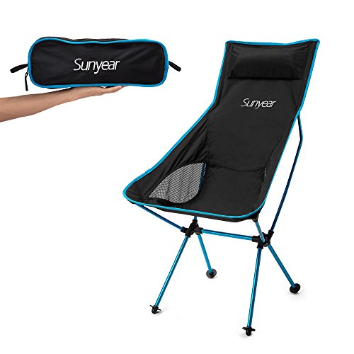 Sunyear Innovative Foldable Camp Chair, Stuck-slip-proof Feet, High Back, Headrest, Super Comfort Ultra light Heavy Duty, Perfect for the Park/Hiking/Fishing/Beach/Sport (3 Person Folding Sports Chair compare prices)