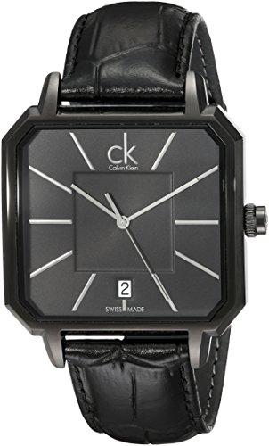 Calvin Klein Men's K1U21402 'Concept' Black Dial Black Leather Strap Swiss Quartz Watch Calvin Klein Dress Watch