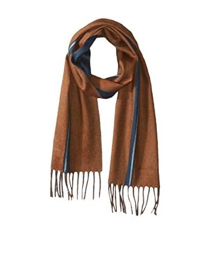 Salvatore Ferragamo Men's Zinco Solid with Single Stripe Scarf, Camel
