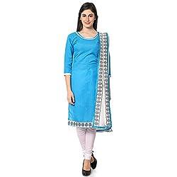 Khushali Fashion Women's Cotton Dress Material (SGLAKR713014_Blue)
