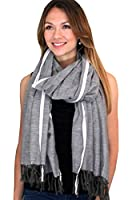 Women's Mendoza Red Stripe Selvedge Gray Fashion Scarf - Long Tassels / Shawl / Wrap