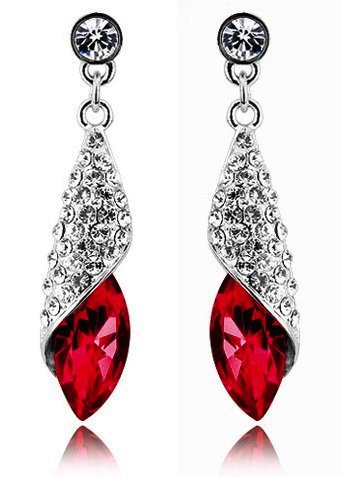 Swarovski Elements Sparkling Red Light of the Desert Earrings made with Austrian Crystal For Women