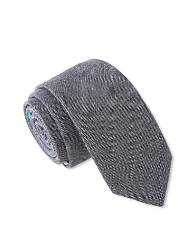 Skinny Tie Madness Men's Rude Rudi Skinny Tie with Plaid Backing, Grey