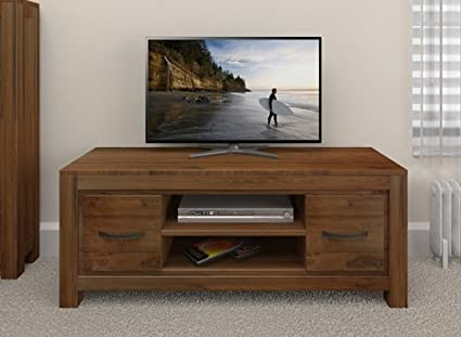 Grand walnut wood furniture low television cabinet tv dvd widescreen stand