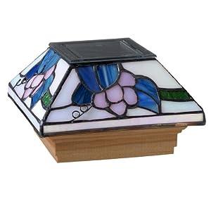 Deckorators 81054 Solar Tiffany Style California Grape Post Cap with Cedar Base