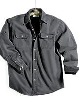Tri-mountain Denim shirt jacket with fleece lining. - CHARCOAL / BLACK - X-Small