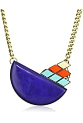 Anton Heunis Inca Goddess Half-Moon Lapis with Tricolor Crystal Necklace