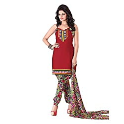 Banorani Womens Poly Cotton Unstitched Salwar Suit Dress Material (Gp-1031 _Dark Red _Free Size)