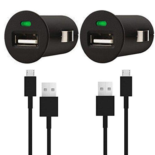 Premium 4in1 SET 2x KFZ Auto Adapter + 2x micro USB Datenkabel - SCHWARZ - Ladegerät - Ladekabel - Sony Xperia miro (ST23i)- Original Lanboo zubehör