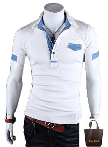 (アーバンセレクト) Urban Select  ポロシャツ半袖 ポロシャツ メンズ 半袖 ブランド 白 半そで  ボタンダウン ボーダー  AI-1504(エコバッグセット) (XL, ホワイト)