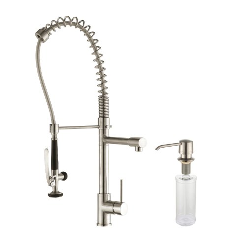 Kraus KPF-1602-KSD-30SS Single Handle Commercial Style Pre-rinse Pull Down Kitchen Faucet, Stainless Steel Finish and Soap Dispenser