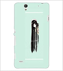 PrintDhaba Long Hair Girl D-2114 Back Case Cover for SONY XPERIA C4 (Multi-Coloured)