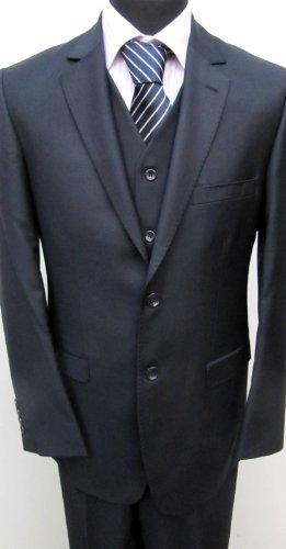 MUGA 2-Button mens Suit + Waistcoat, Navy/Darkblue, size 50L (EU 114)