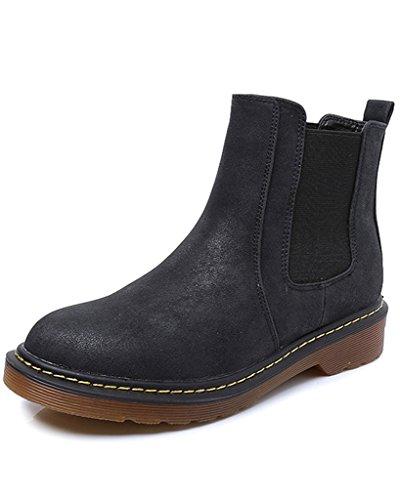 Minetom Donna Autunno Inverno Scarpe da Moda Stivaletti Scarponcini Chelsea Low boots Stivali Cavaliere Nero EU 39