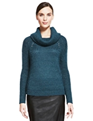Autograph Roll Neck Sheen Jumper with Mohair