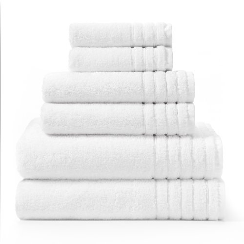 Super Zero Twist 6 piece towel set White by Cotton Craft - 7 Star Hotel Collection Beyond Luxury Softer than a Cloud - Each