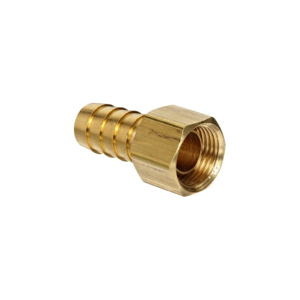 Brass Hose Fitting, Ball End Swivel Connector, 3/8 Barb x 1/2 NPSM