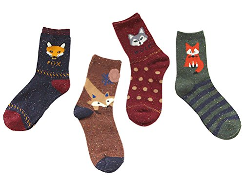 Colorful Womens Socks with Cartoon Animals Fox and Wolf, Pack of 4 Pairs