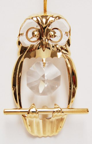 Owl Hanging Sun Catcher Or Ornament..... With Clear Swarovski Austrian Crystals front-528383