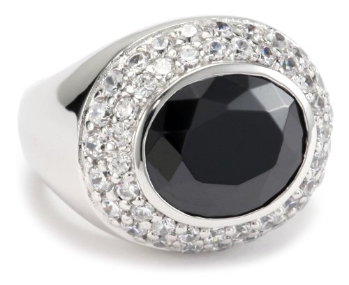 Giorgio Martello Sterling Silver Rhodium Plated Faceted Black Cubic Zirconium Ring