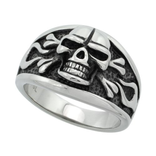 Surgical Steel Biker Cigar Band Ring w/ Skull & Flames 9/16 inch, size 9