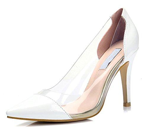 Littleboutique Womens Fashion Transparent High Heel Pointed Toe Stiletto Pumps Evening Dress Shoes White 8