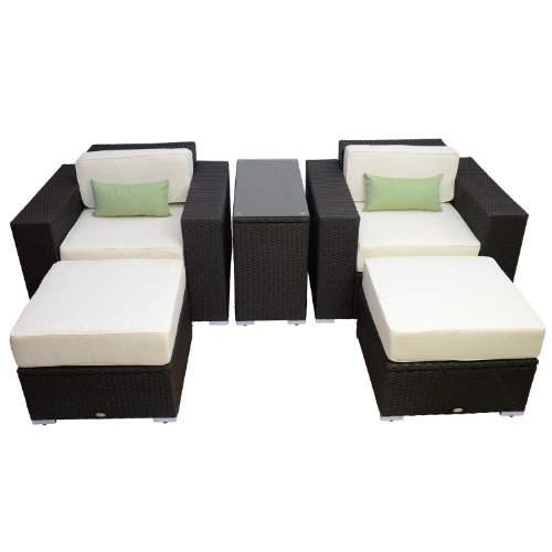 Outsunny 5pc Outdoor PE Rattan Wicker Lounge Chair Patio Furniture Set Outd