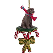 Chocolate Labrador Retriever Candy Cane Christmas Ornament