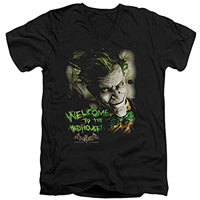 Batman Arkham Asylum Welcome To The Madhouse Slim Fit V-Neck T-Shirt