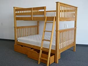 Bunk Bed Full over Full Mission style in Honey with Drawers by Bedz King