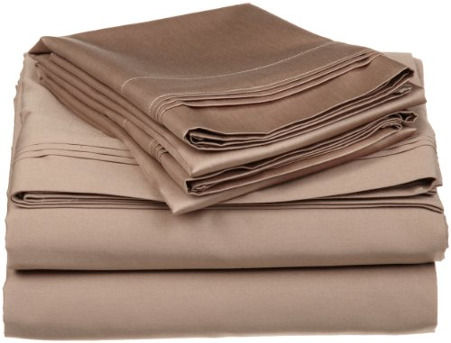 Egyptian Cotton 650 Thread Count Oversized Split King Sheet Set Solid, Taupe back-776006